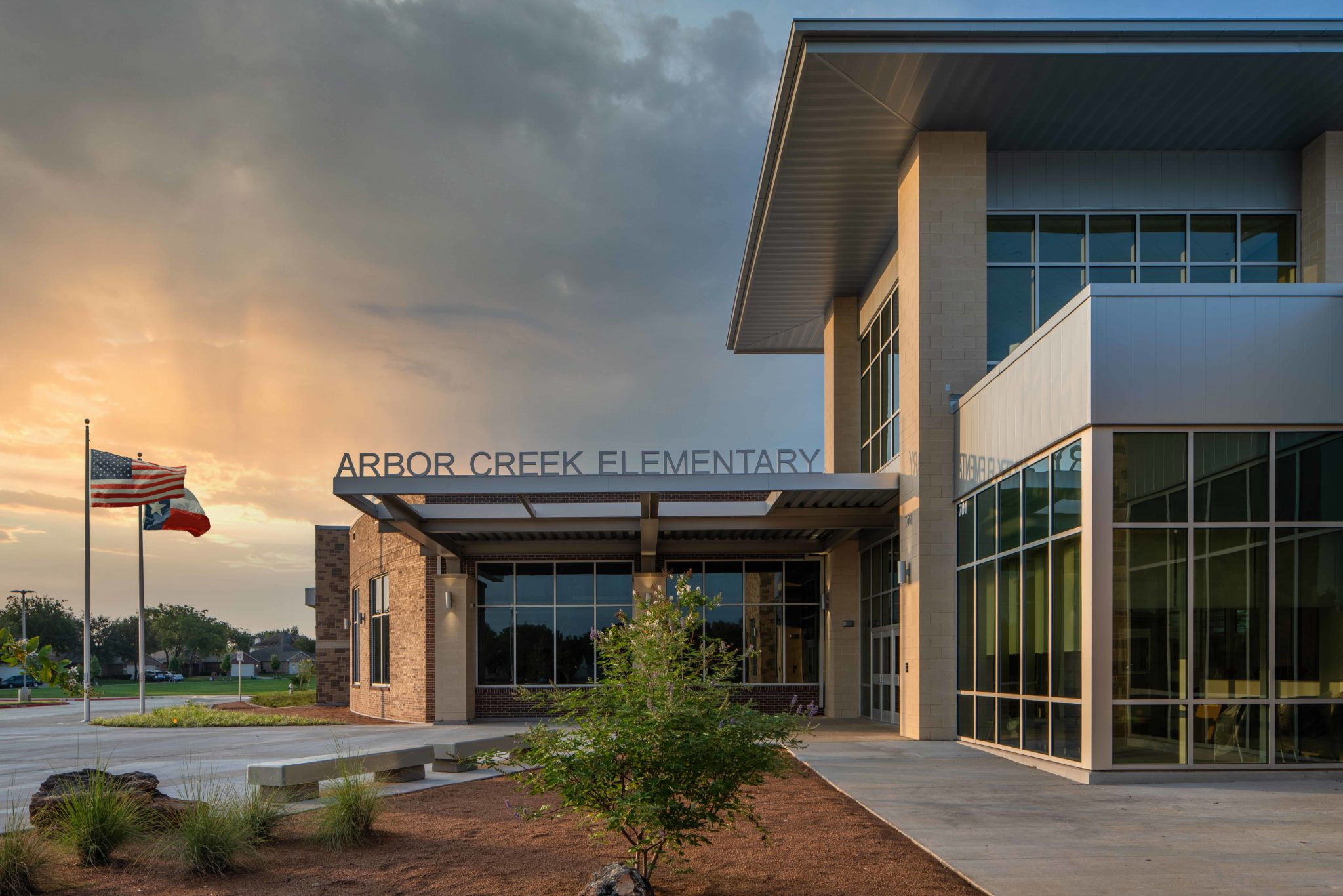 HEB ISD Arbor Creek Elementary Front Entrance at Dawn