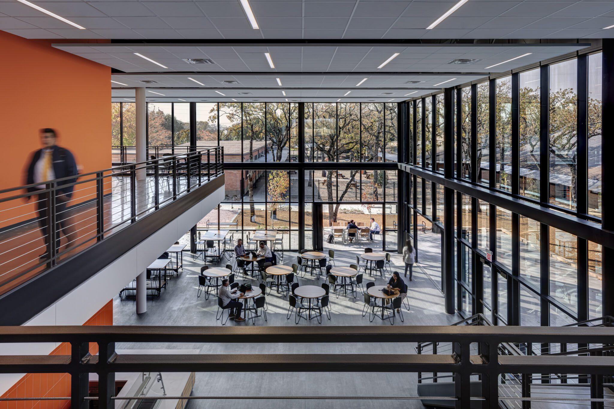 Cristo Rey Dallas Innovation Center, Main Atrium, View From 2nd Floor