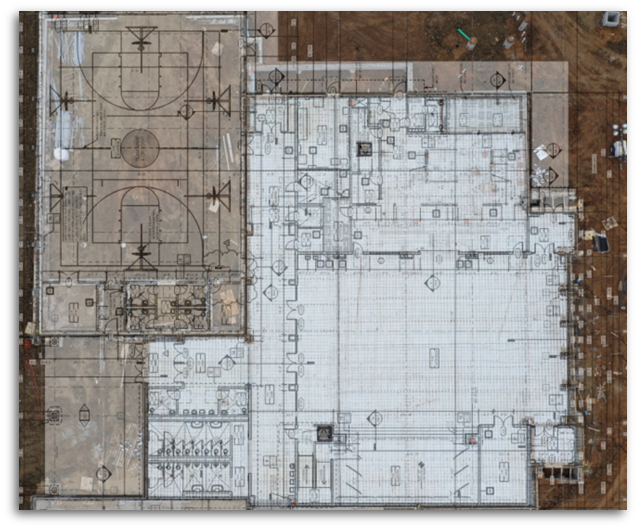 HEB ISD Trinity Lakes Drone Deploy Overlay with architectural plan