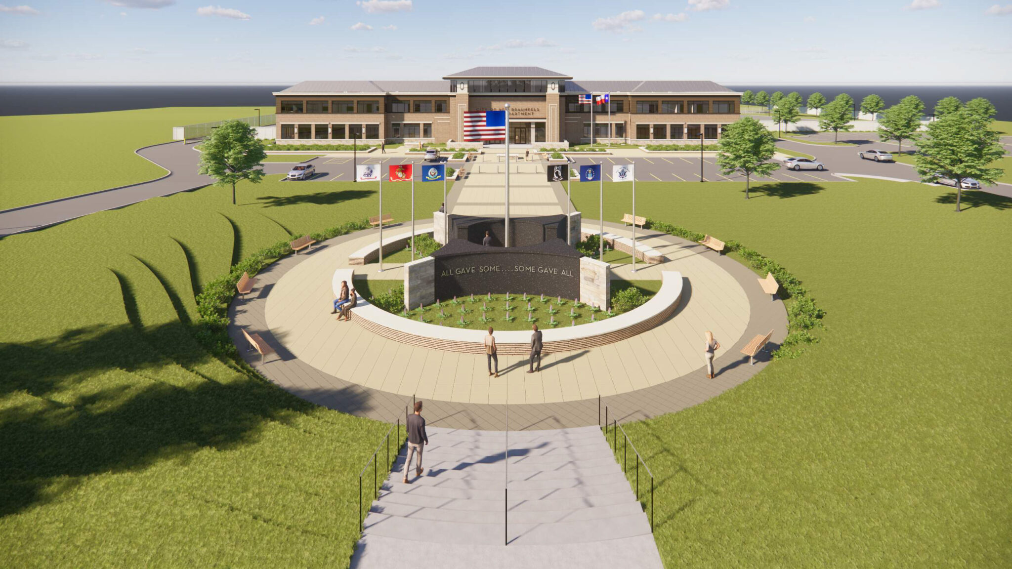 City of New Braunfels Police Headquarters and Veterans Memorial Exterior Rendering